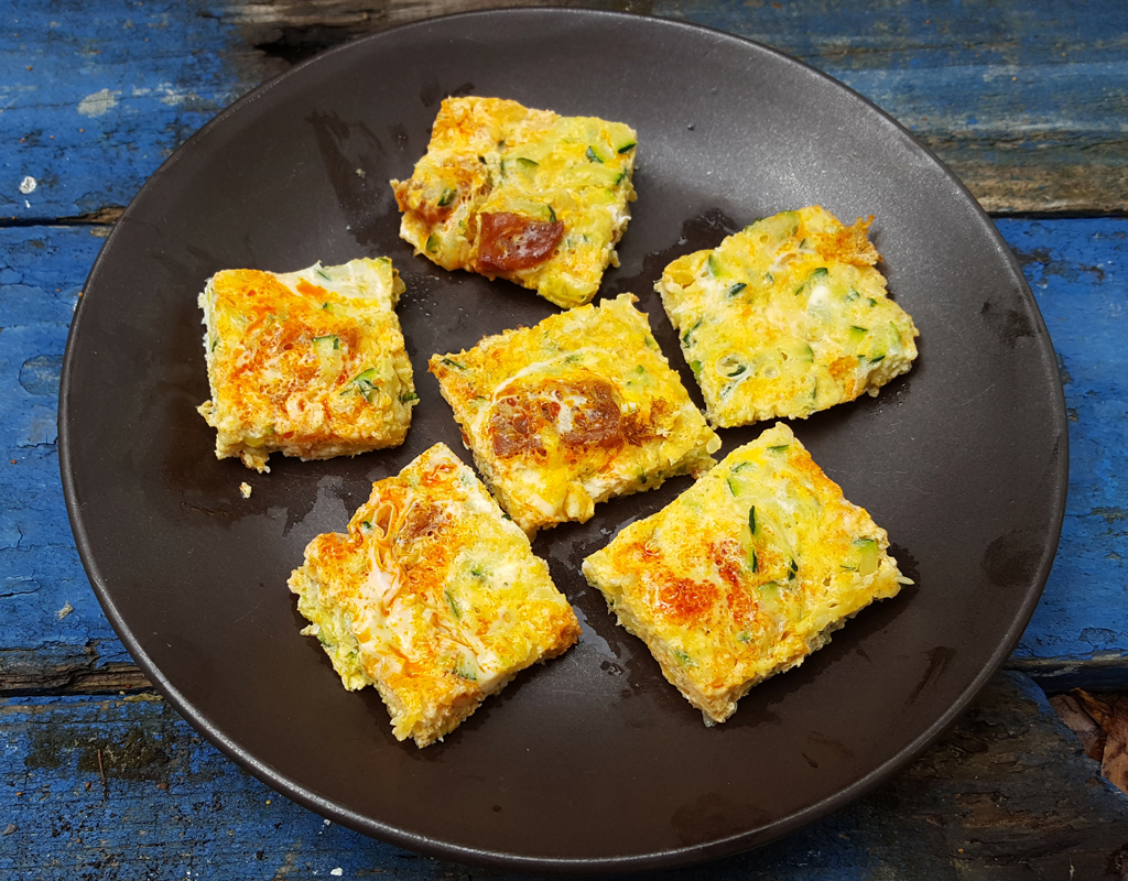 Chorizo and courgette frittata