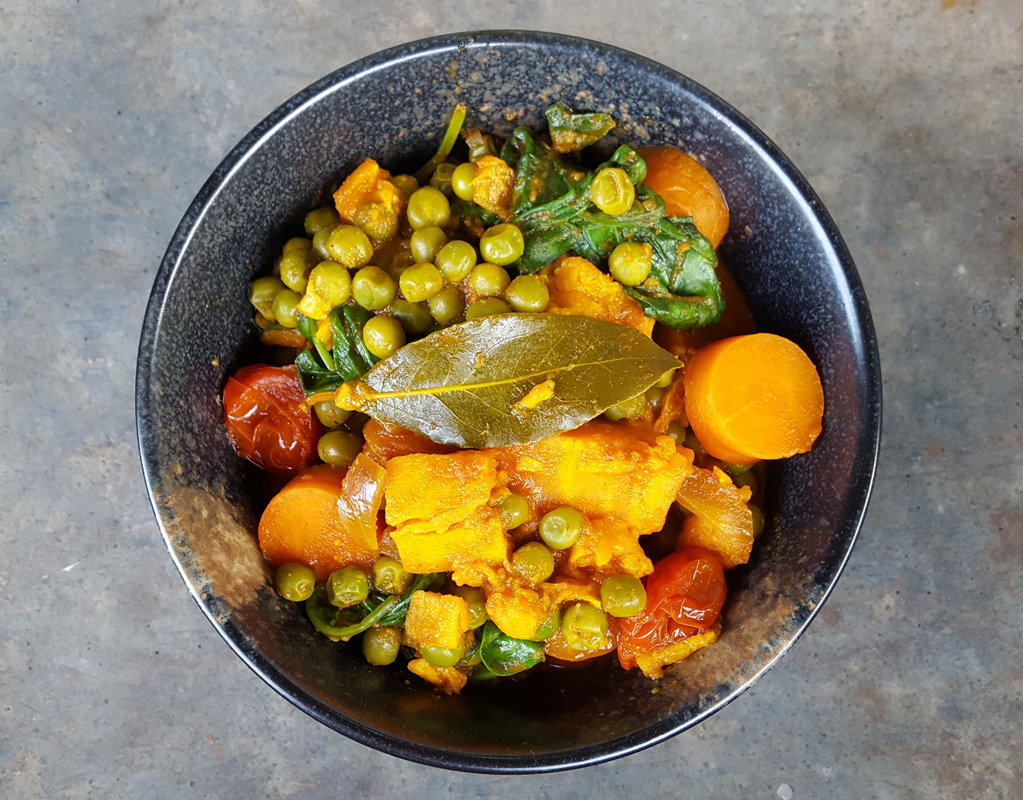 Sweet potato and sweet peas stew
