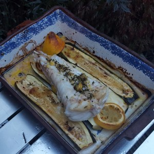 Baked monkfish and courgette