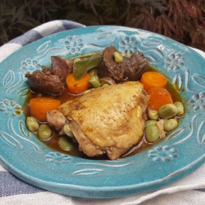 Chicken thigh and liver stew