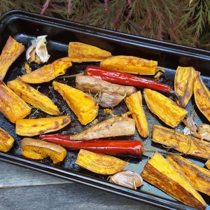 Garlic and rosemary roasted sweet potatoes