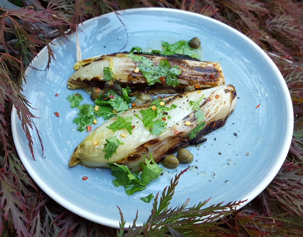 Grilled chicory with chilli & caper gremolata