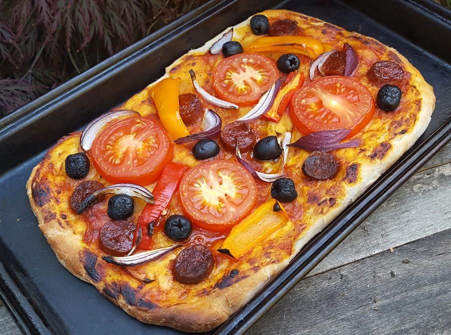 Homemade dairy-free pizza