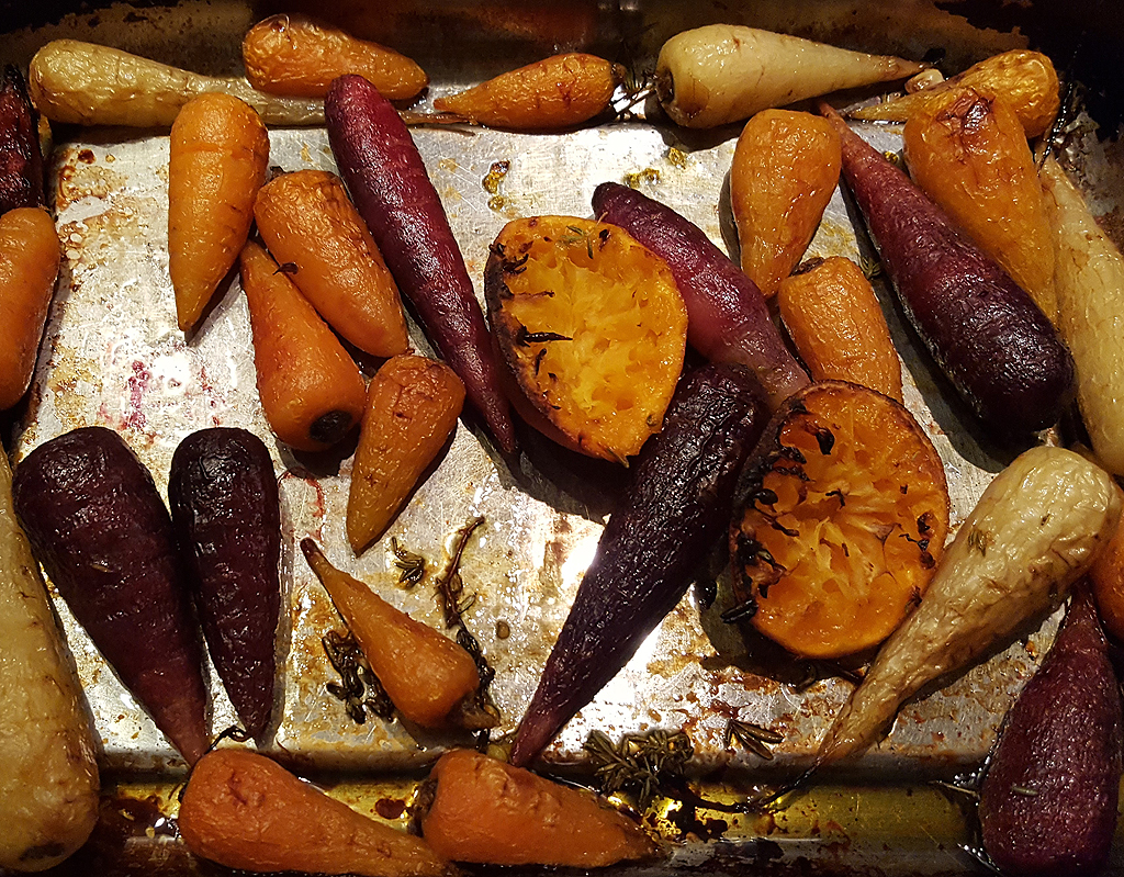 Mandarin roasted rainbow carrots