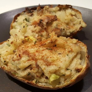 Mackerel loaded potato skin