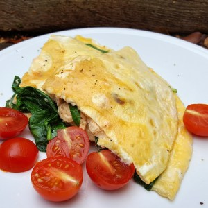 Salmon and spinach omelette