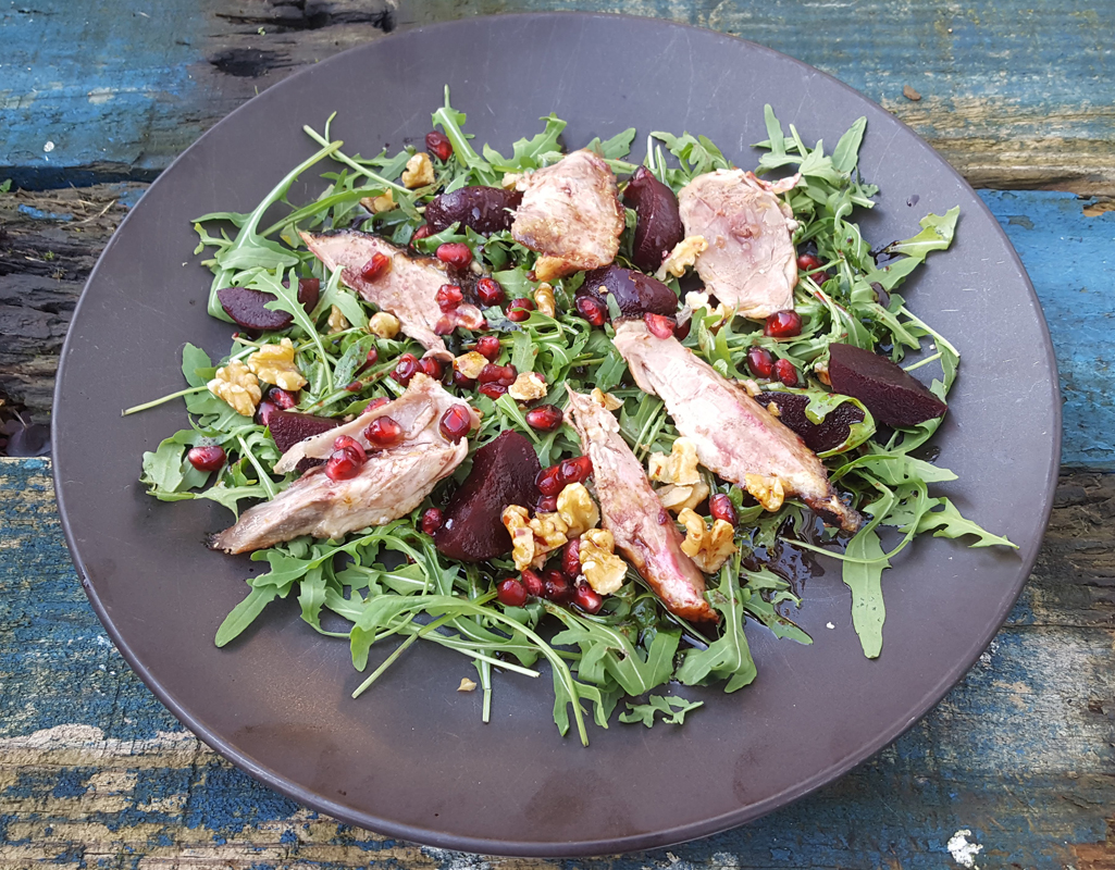 Duck, beetroot and pomegranate salad