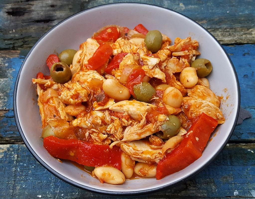 Leftover chicken stew Mediterranean style