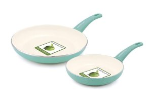 """GreenLife Soft Grip Ceramic Non-Stick 7"""" and 10"""" Open Frypan Set"""