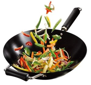 KEN HOM Nonstick Carbon Steel Wok - Flat Bottom Asian Stir Fry Pan