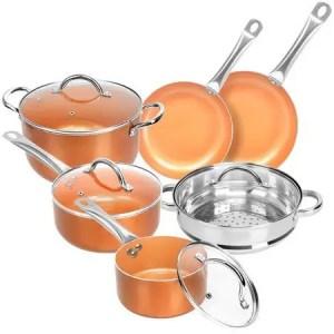 SHINEURI Nonstick Ceramic Copper 10 Pieces Cookware Set