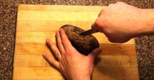 Cut a slit in the potato