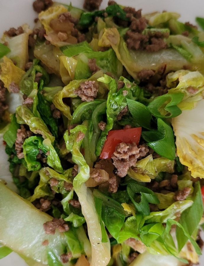 Easy Ground Beef & Napa Cabbage Stir Fry