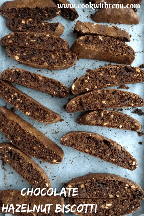 Chocolate Hazelnut Biscotti - are loaded with hazelnuts and have a deep chocolate flavour. They are twice-baked, making them perfect as Cupboard and Travel Snacks.