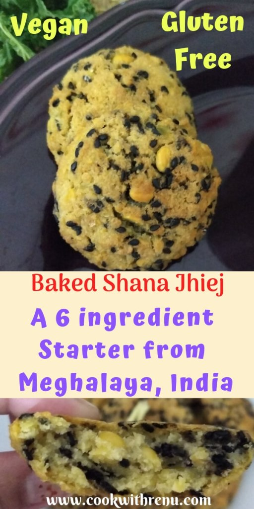 Baked Shana Jhiej  | Meghalaya Vegan and Gluten Free Starter - A Vegan and Gluten free starter from Meghalaya, India made using Bengal Gram (Chana Dal) and black sessame seeds. This is the baked version.