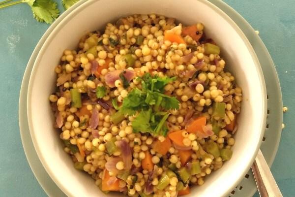 Gluten free Jowar pulao | Sorghum pearls pulao