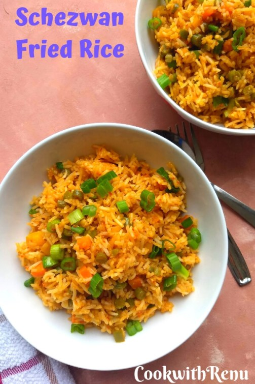 Veg Schezwan Fried Rice is an Indo chinese dish where the rice is cooked along with spicy schezwan sauce, soya sauce, vinegar and and loads of vegetables.
