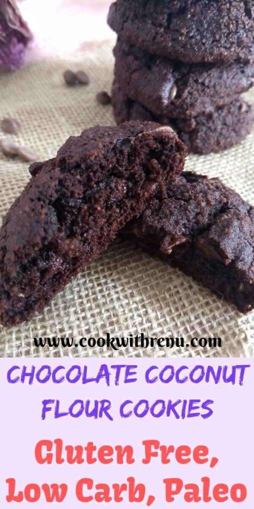 This Chocolate Coconut Flour cookies are a guilt free treat loaded with chocolate and are gluten free, low carb, paleo and has no white sugar.