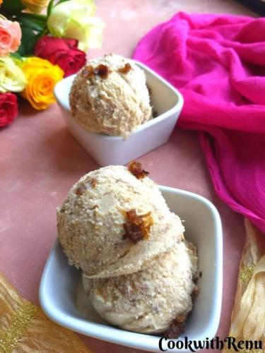 4 Ingredient Gulkand Ice Cream (Without Ice Cream maker)