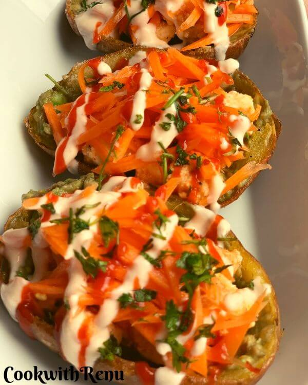 Baked Potato Skins with Paneer & Veggies is a yummy and delicious starter or appetiser that can be made well ahead of time.