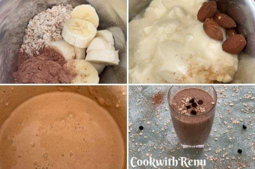 Making of Sugarless Cacao banana, Oats and Dates breakfast smoothie