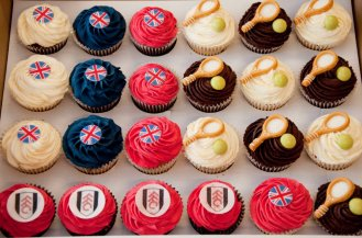 Jubilee, tennis and Fulham FC themed cupcakes