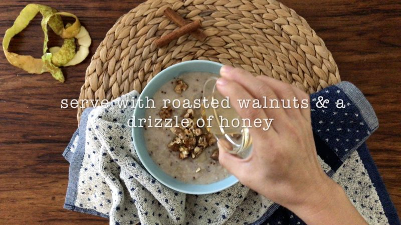 serving pear oatmeal with roasted walnuts and a drizzle of honey