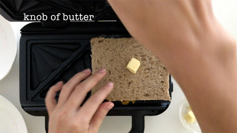 Cover all the stuffings with another piece of brown bread and put a knob of unsalted butter on top