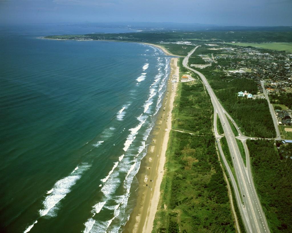 千里浜なぎさドライブウェイ,砂浜,波打ち際