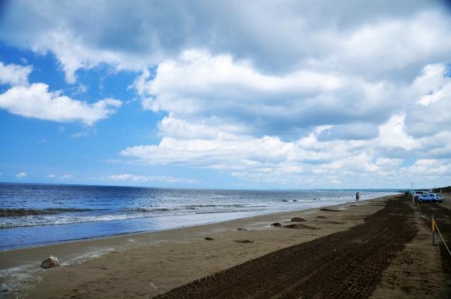 千里浜,千里浜なぎさドライブウェイ,砂浜,海水浴,ローピング