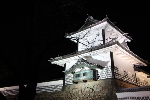 石川門,金沢城,三御門,ライトアップ