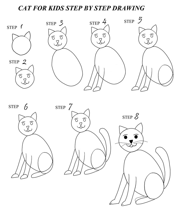 How To Draw A Cat (step By Step With Pictures)  Cool2bkids