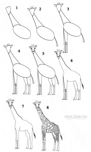 giraffe draw step cool2bkids