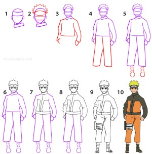 naruto draw step drawing cool2bkids easy drawings cool tutorial anime beginners sketch yellow characters tutorials