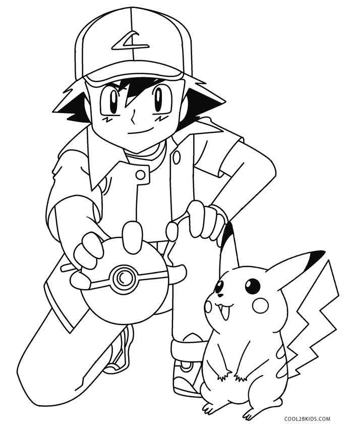 Ash And Pikachu Coloring Pages | Colorings-lucy.com