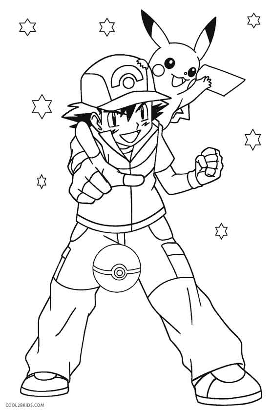 Pikachu And Ash Coloring Pages : pikachu, coloring, pages, Pikachu, Coloring, Pages, Cool2bKids