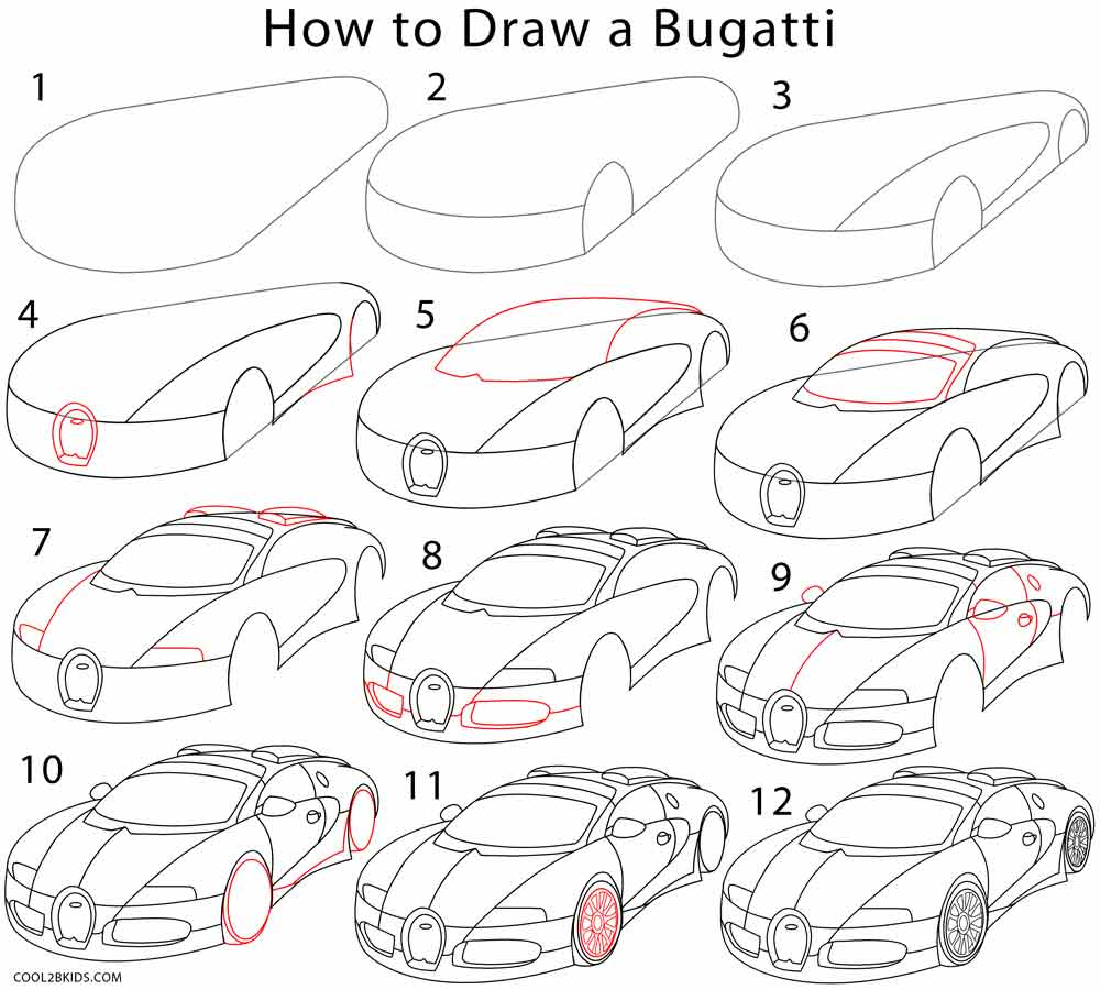 How To Draw A Bugatti (step By Step Pictures)  Cool2bkids