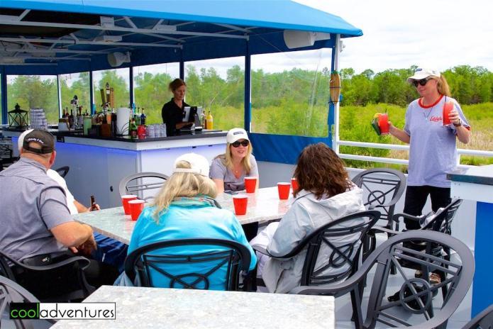 Enjoying beverages before lunch, Kim Hull, Caitlin Rick, Destiny Cruises, Gull Lake, Minnesota