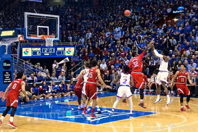 KU basketball game in Lawrence, Kansas