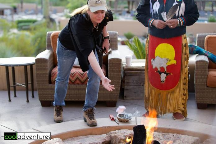 Kim Hull, burning of a sage prayer tie, JW Marriott Starr Pass in Tucson