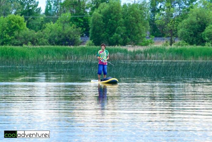 SUP fisherman on Detroit Lake, Detroit Lakes, Minnesota