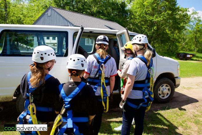 Boarding the van to go ziplining at Brainerd Zip Line Tour