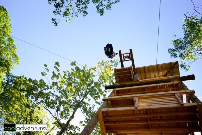 Caitlin Rick in free fall at Zip Line Brainerd