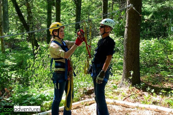 Our guide, Amanda, with Greg at Zip Line Brainerd
