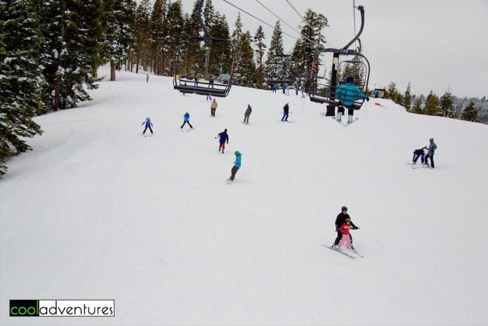 Family skiing at Homewood Ski Resort