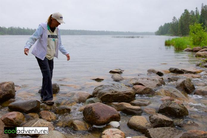 Kim Hull crossing the Mississippi Headwaters at Itasca State Park