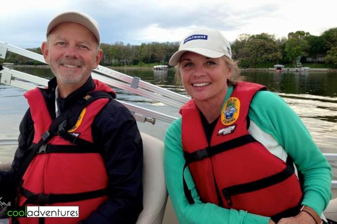 Kim and Greg on a pontoonon Detroit Lake