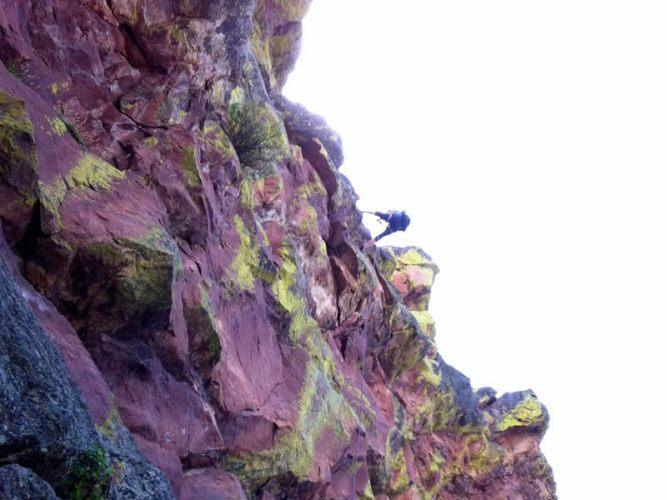 Climbing First Flatiron Boulder