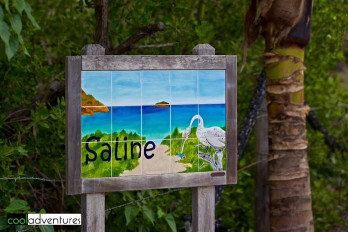 Sign at entrance to Saline beach, St. Barths
