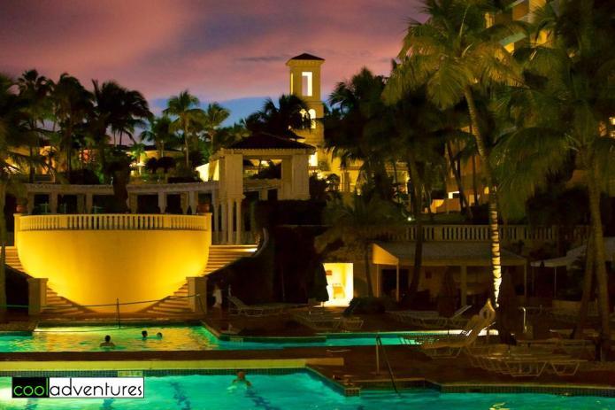 Pools at night, El Conquistador